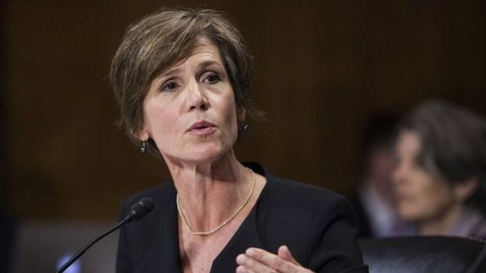Sally Yates, une fonctionnaire de l'ancienne administration Obama qui assurait l'intérim du ministre de la Justice
