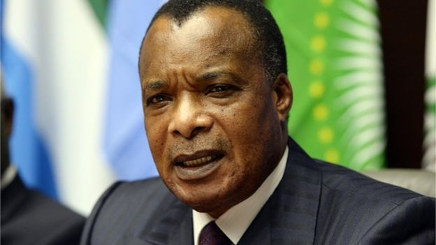Congolese President Denis Sassou Nguesso attends a press conference on March 3, 2015 in Brussels.