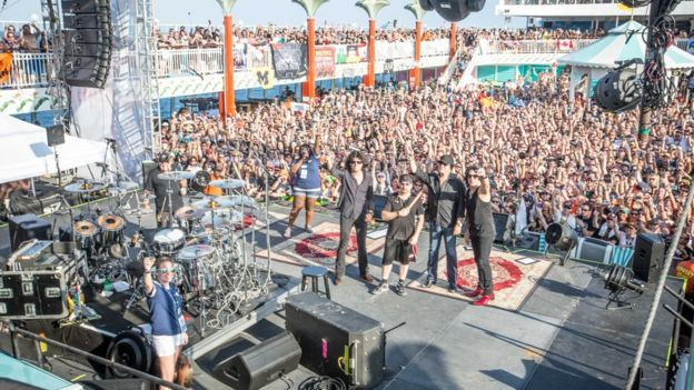 Rock band Kiss and their fans on a Kiss Kruise