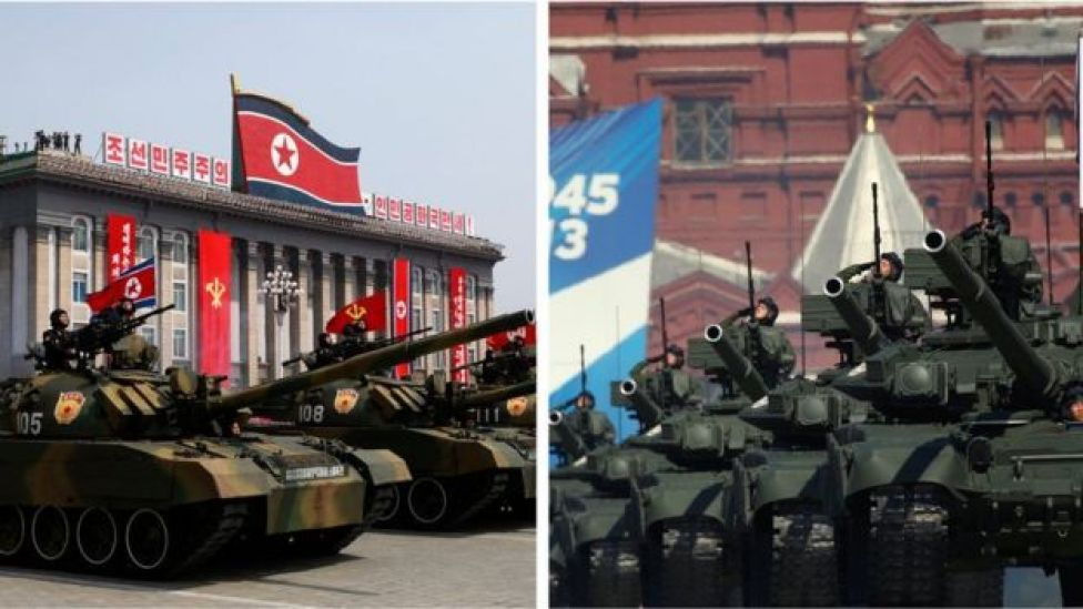 North Korean and Russian military parades