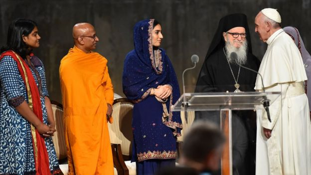 Pope Francis attends a multi-religious service for the victims of 9/11