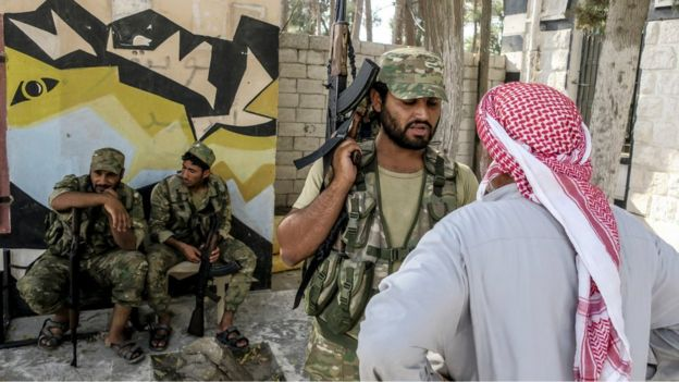 Free Syrian Army fighters in Jarablus