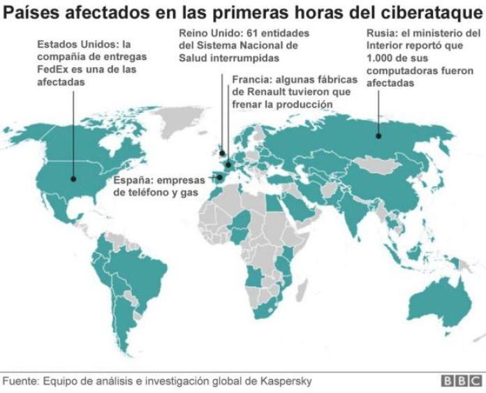 Mapa del ciberataque