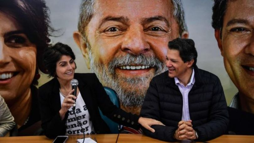 Manuela D'Ávila e Fernando Haddad em São Paulo