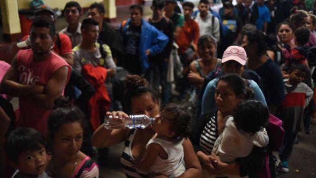 Migrantes hondureños en Guatemala