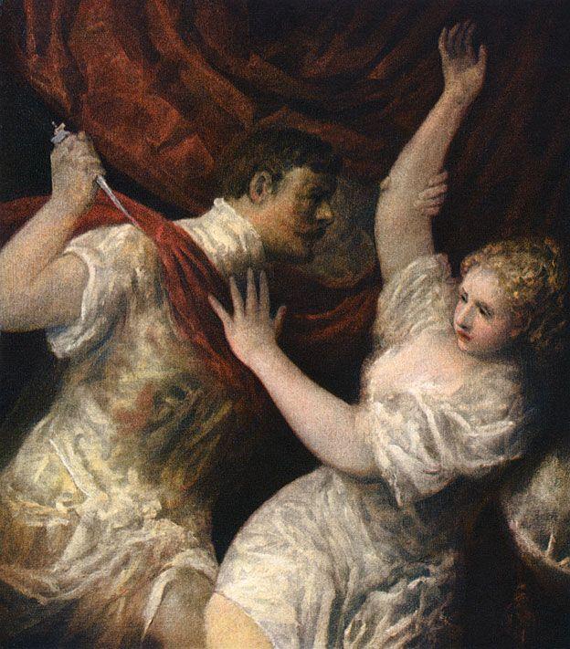 """""""Lucrecia y Tarquinio"""", circa 1560, del pintor italiano del Renacimiento Tiziano."""