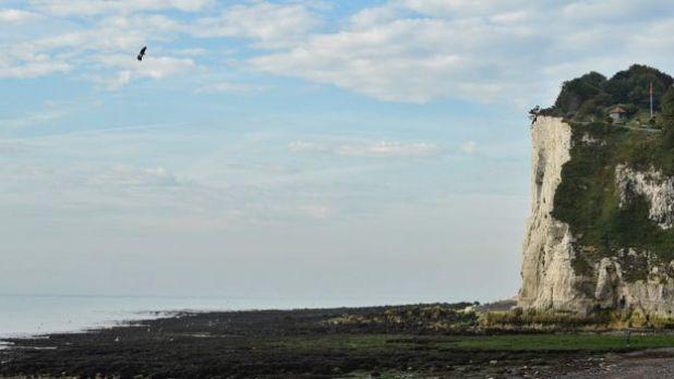 Franky Zapata llegando a St Margaret's Bay, cerca de Dover