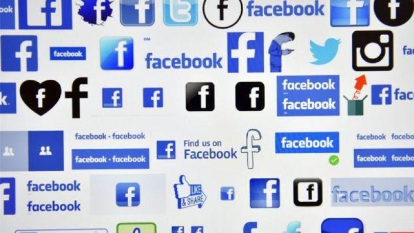 Imagem mostra diversas logos do Facebook em um painel