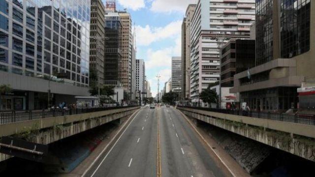 A avenida Paulista, em São Paulo, vazia em 24 de março de 2020