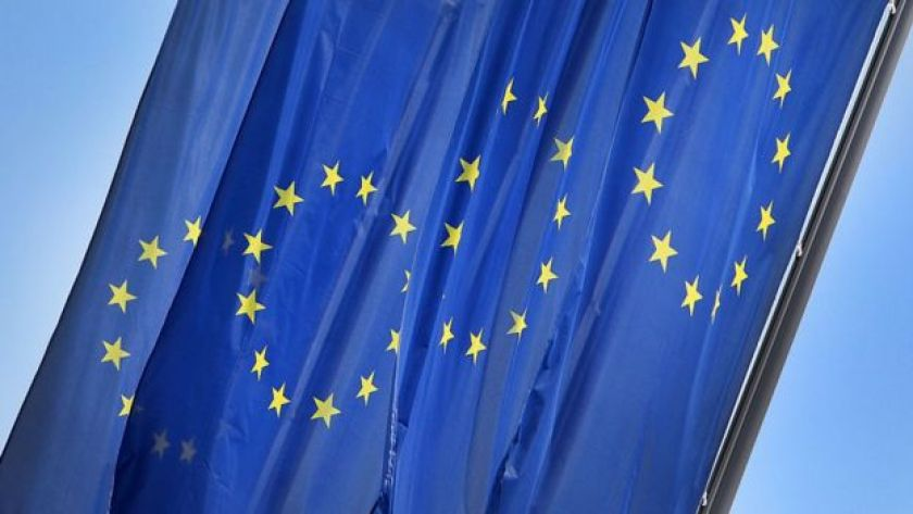 EU flags outside the ECB headquarters, Frankfurt