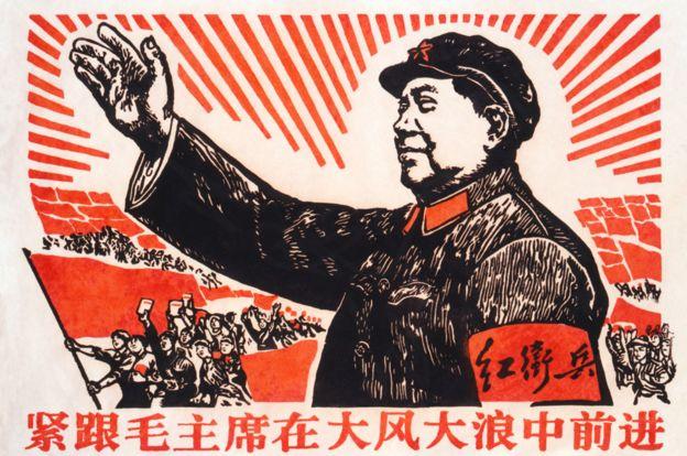 Poster comunista com a imagem de Mao
