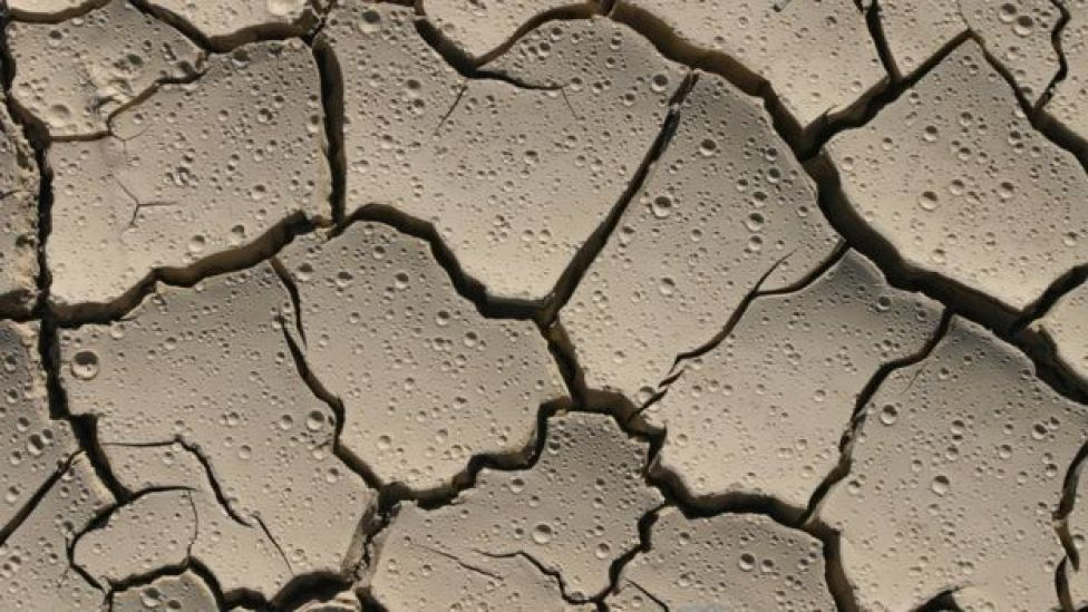 Dry, cracked earth with raindrops