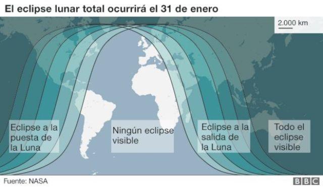 Gráfico sobre visibilidad del eclipse lunar.