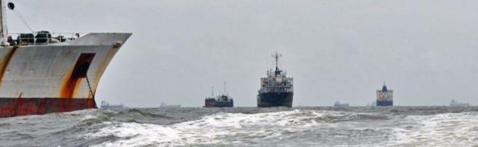 Vessels pictured off Lagos, Nigeria