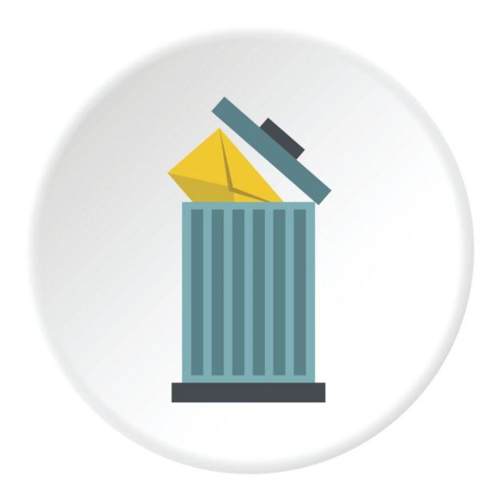 Imagen de un cubo de basura con un mensaje dentro.