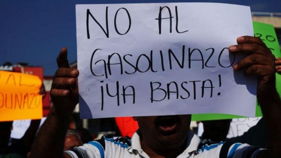 Protesta contra el gasolinazo en México.