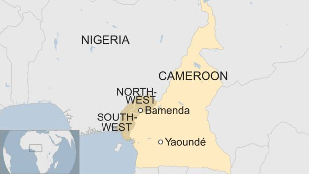 A map showing Cameroon's two Anglophone regions