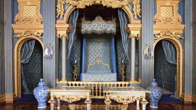 A blue bedroom in Drottningholm Palace, Sweden.