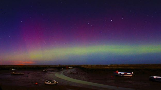 Northern Lights at Morston Quay, Norfolk