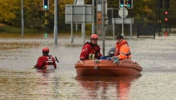 Rescuers using a boat to get around Rotherham