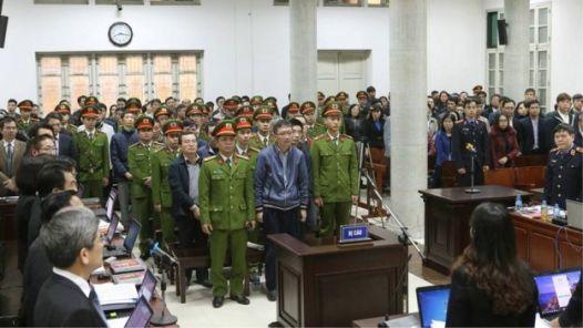 Ông Trịnh Xuân Thanh tại tòa. Ảnh chụp hôm 8/1/2018.