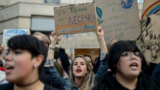 Protestas en Santiago de Chile contra los incendios en el Amazonas.