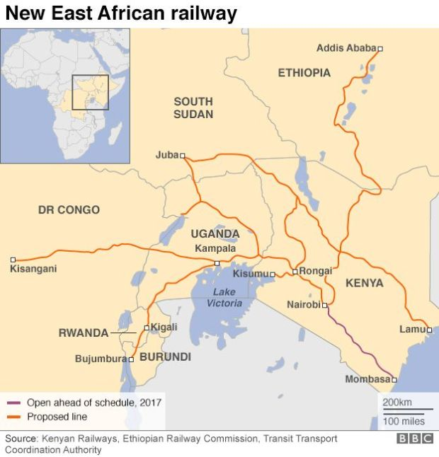 Map showing railway lines