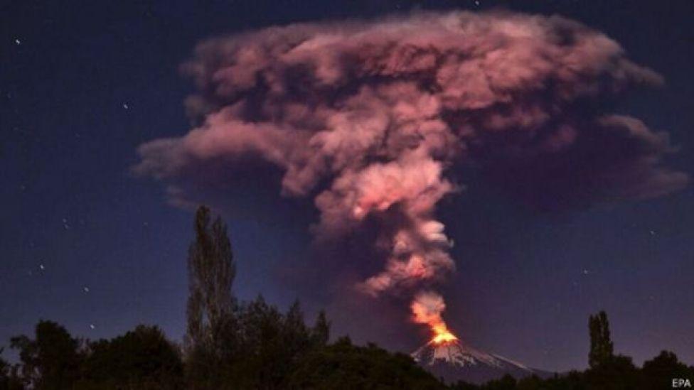 Erupción del volcán Villarica, en Chile