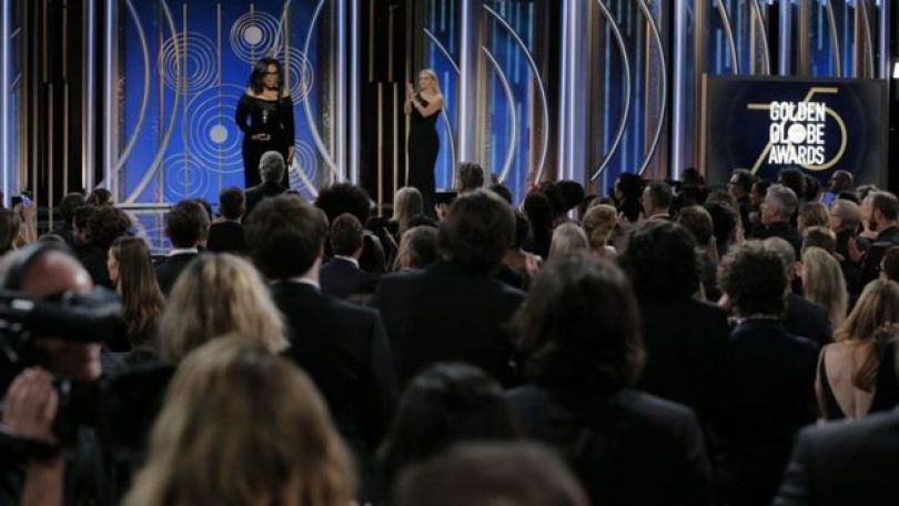 Oprah discursando no Globo De Ouro