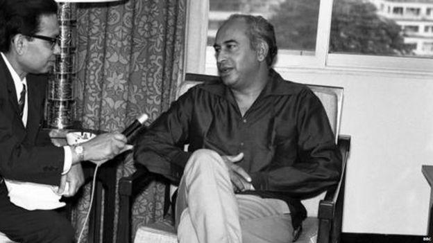 Zulfikar Ali Bhutto (right) in 1979