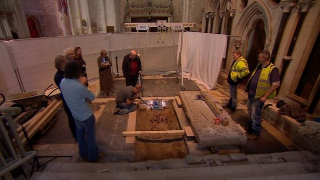 Archaeological dig inside Gloucester Cathedral