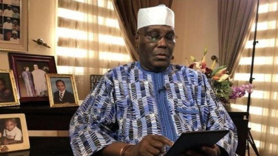Atiku Abubakar yana jawabin a lokacin da ya bayyana cewa ya fita daga jam'iyyar APC