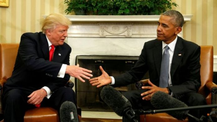 U.S. President Barack Obama meets with President-elect Donald Trump in the Oval Office of the White House in Washington November 10, 2016