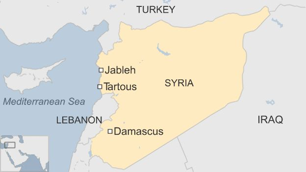 Map of Syria showing Jableh and Tartous