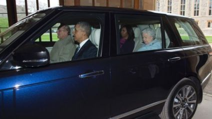 The Obamas in the car with Prince Philip (driving) and the Queen