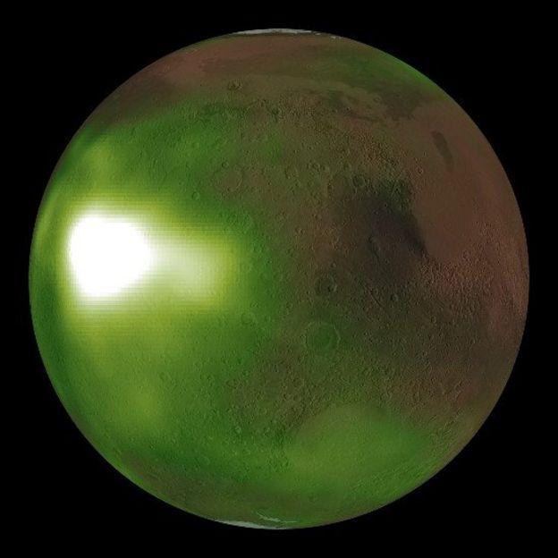 Sitios brillantes en la atmósfera de Marte