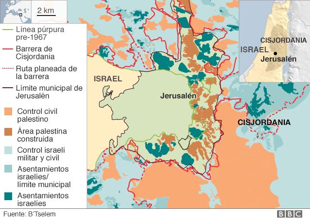 Mapa de fronteras de Jerusalén