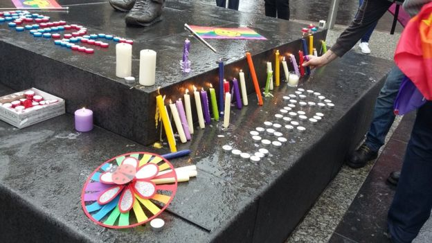 People light candles at the Nottingham vigil