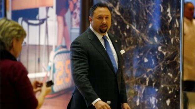 Communications adviser Jason Miller arrives at the offices of Republican president-elect Donald Trump at Trump Tower in New York.