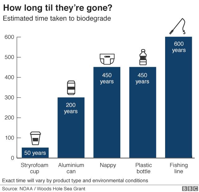 Un grafico mostra quanto tempo impiega la plastica a rompersi: 50 anni per una tazza di caffè, 200 per una lattina di alluminio, 450 anni per un pannolino o una bottiglia di plastica e 600 anni per la lenza.
