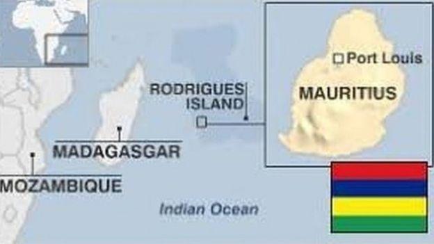 Ramani inayoonyesha lilipo taifa la Mauritius