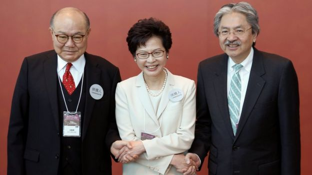 Hong Kong leadership candidates Woo Kwok-hing, Carrie Lam and John Tsang