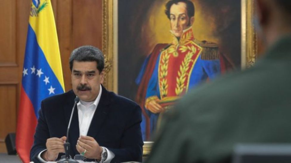 President Nicolas Maduro speaking during a meeting with senior members of the armed forces on May 4, 2020