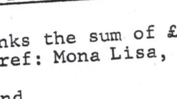 "A close-up detail of a document showing the words ""Mona Lisa"""