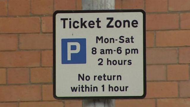 Parking restrictions warning sign