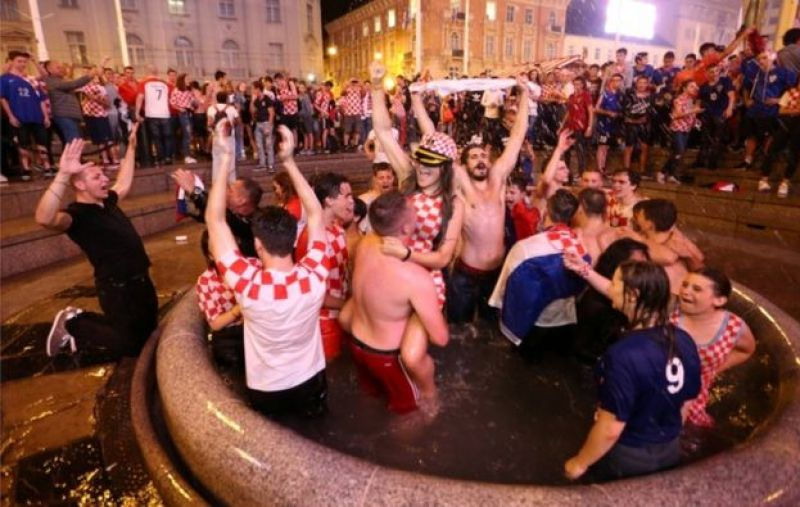 Croatia's fans celebrate in Zagreb after Croatia beat England in semi-final of the 2018 World Cup