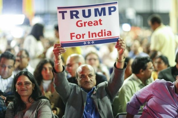 Republican presidential candidate Donald Trump supporters listens as he speaks during the Republican Hindu Coalition's Humanity United Against Terror Charity event on October 15, 2016 at the New Jersey Convention Expo Centre in Edison, New Jersey.