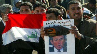 Protesta contra Bush en Irak.