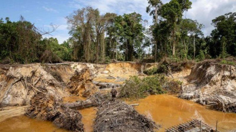 Clarão aberto da floresta decorrente do garimpo ilegal