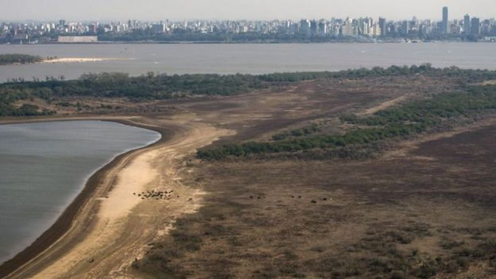 Vista aérea de un pantanal seco cerca de Rosario, en Argentina.